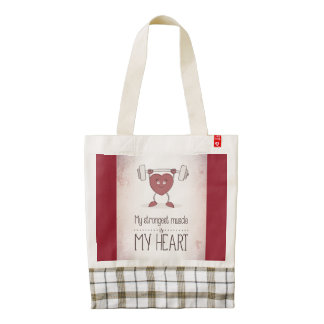 My Strongest Muscle Is My Heart Zazzle Tote Bag