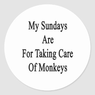 My Sundays Are For Taking Care Of Monkeys Classic Round Sticker