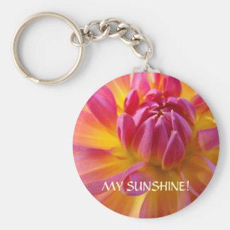 MY SUNSHINE! Pink Dahlia key chain Valentines gift
