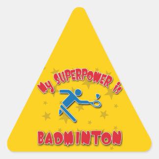 My Superpower is Badminton Triangle Sticker