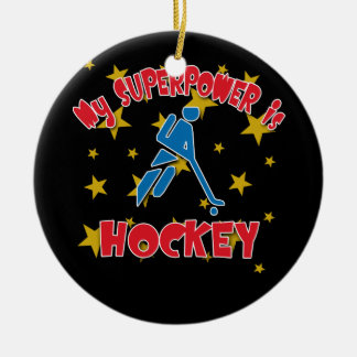 My Superpower is Hockey Christmas Tree Ornaments