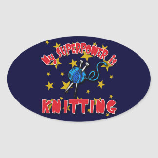 My Superpower is Knitting Oval Sticker