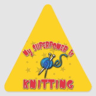 My Superpower is Knitting Triangle Sticker