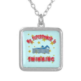 My Superpower is Swimming Square Pendant Necklace