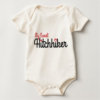 """My Sweet Hitchhiker"" Organic One-Piece Outfit Baby Bodysuit"