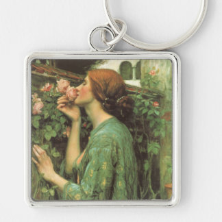 My Sweet Rose, or Soul of the Rose by Waterhouse Silver-Colored Square Keychain
