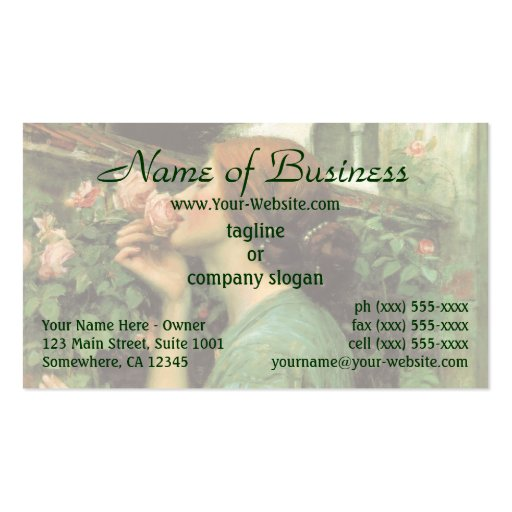 My Sweet Rose (Soul of the Rose) by Waterhouse Business Card Template