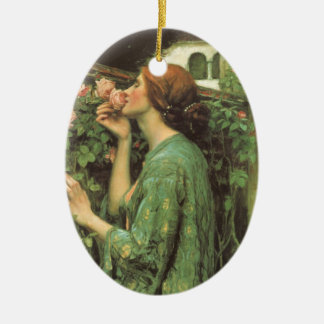 My Sweet Rose (Soul of the Rose) by Waterhouse Double-Sided Oval Ceramic Christmas Ornament