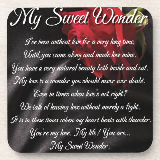 My Sweet Wonder Poetry Poster Drink Coaster
