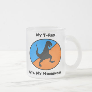 My T-Rex Ate My Homework Frosted Glass Coffee Mug