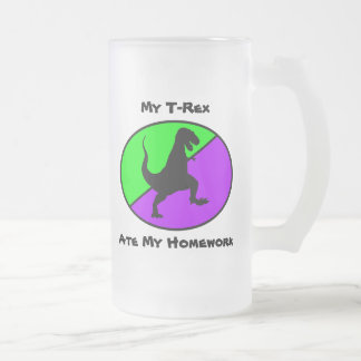 My T-Rex Ate My Homework 16 Oz Frosted Glass Beer Mug