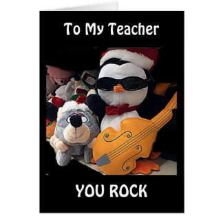 "MY TEACHER-H0PE Y0UR CHRITMAS ""R0CKS""-YOU ROCK TOO CARD"