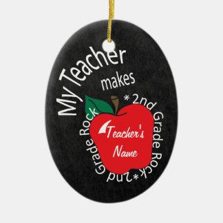 My Teacher Makes 2nd Grade Rock | Chalkboard Ceramic Ornament