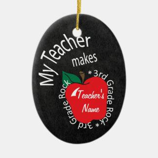 My Teacher Makes 3rd Grade Rock | Chalkboard Ceramic Ornament