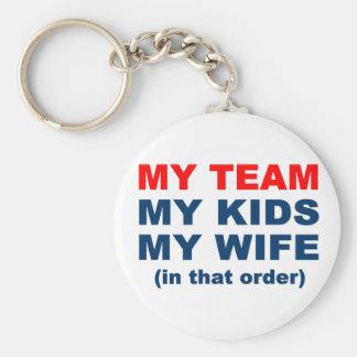 My Team My Kids My Wife in that order Keychain