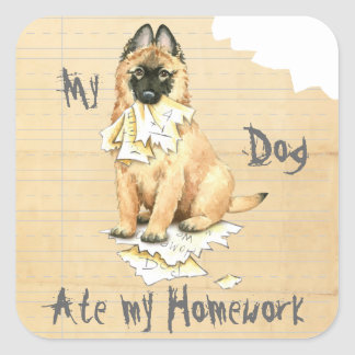 My Tervuren Ate My Homework Square Sticker