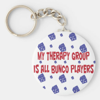 my therapy group is all bunco players keychain