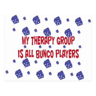 my therapy group is all bunco players postcard