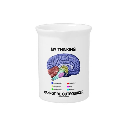 My Thinking Cannot Be Outsourced (Brain Anatomy) Drink Pitcher