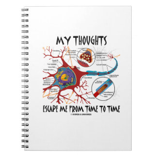 My Thoughts Escape Me Time To Time Neuron Synapse Spiral Notebook