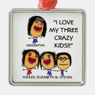My Three Crazy Kids Cartoon Christmas Ornament