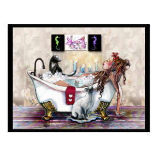 My Time, Lady in the Tub and Cats Postcard