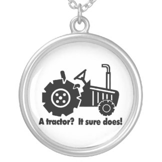 My Tractor Is A Chick Magnet Silver Plated Necklace