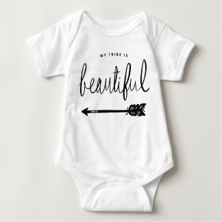 My Tribe Is Beautiful Stylish Hand-Lettered Baby Bodysuit