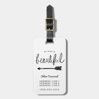 My Tribe Is Beautiful Stylish Hand-Lettered Luggage Tag