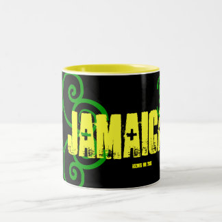 """My Trip to JAMAICA 2010"" Jamaican Celtic Flag Two-Tone Coffee Mug"