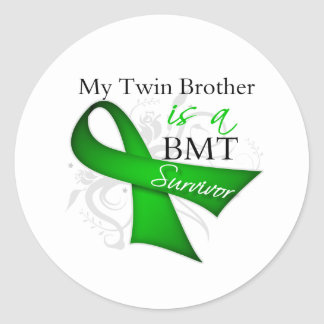 My Twin Brother is Bone Marrow Transplant Survivor Classic Round Sticker