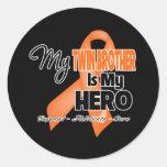 My Twin Brother is My Hero - Leukemia Round Stickers