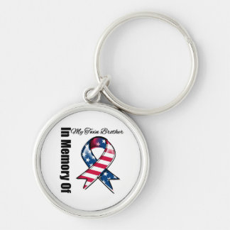 My Twin Brother Memorial Patriotic Ribbon Keychain