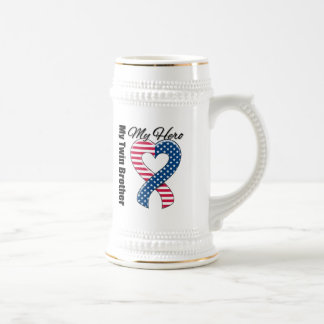 My Twin Brother My Hero Patriotic USA Ribbon Beer Stein