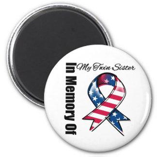 My Twin Sister Memorial Patriotic Ribbon Magnet