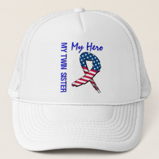 My Twin Sister My Hero Patriotic Grunge Ribbon Trucker Hat