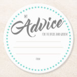 "My &quot;Two Cents&quot; Round Paper Coaster<br><div class=""desc"">tips/advice for the bride and groom</div>"
