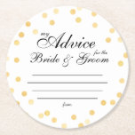 "my &quot;two cents&quot; round paper coaster<br><div class=""desc"">Tips for the bride and groom</div>"