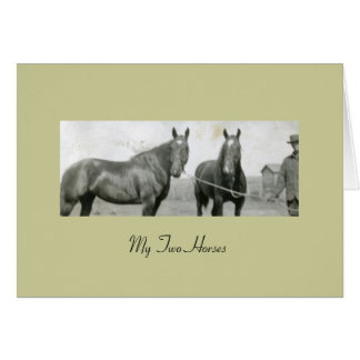 My Two Horses Stationery Note Card