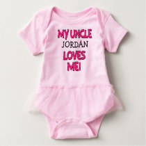 My Uncle Loves Me, Custom niece shirt, baby girl Baby Bodysuit