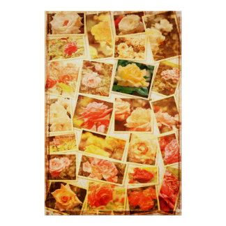 My Unfading Rose Collage Vintage Faded Paper 2 Poster