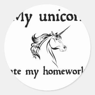 my unicorn ate my home work classic round sticker