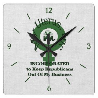 My Uterus, Inc Square Wall Clock