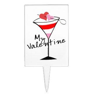 My Valentine Heart Martini Design Cake Topper