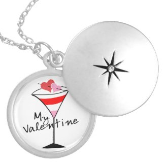 My Valentine Heart Martini Design Custom Necklace