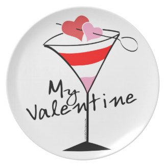 My Valentine Heart Martini Design Plate