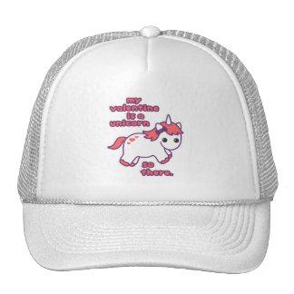 My Valentine is a Unicorn Trucker Hat