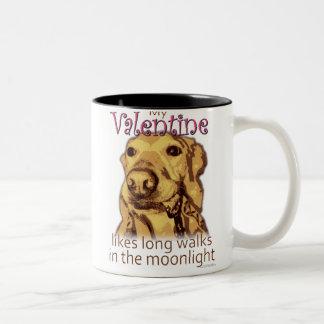 My Valentine Likes Long Walks - for dog lovers Two-Tone Coffee Mug