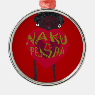 My Valentine love you Nakupenda Kenya Swahili Art. Round Metal Christmas Ornament