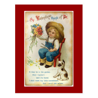 My Valentine Think Of Me Vintage Postcard